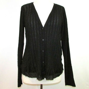 Simply Vera Wang Cardigan Chiffon Trim Sweater